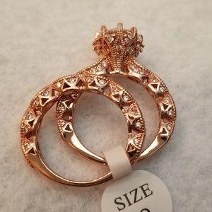 Vintage Style Rose Gold Filled Wedding Set